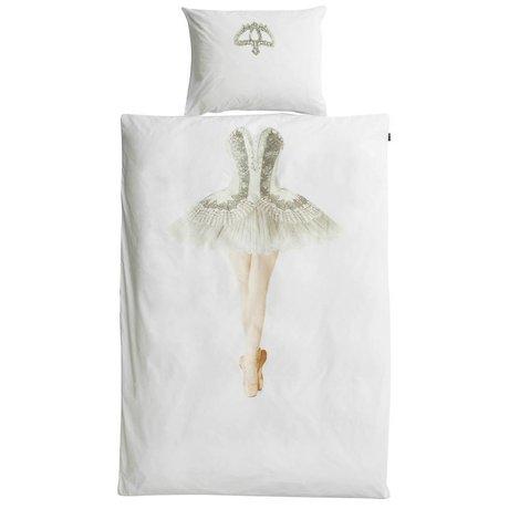 Snurk Beddengoed Kinderdekbedovertrek Ballerina wit katoen 140x220cm-60x70cm