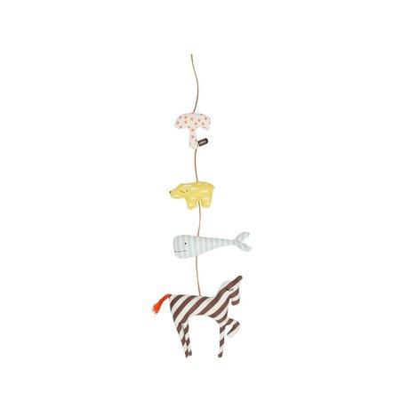 OYOY Mobiel dierenslinger Animal multicolour katoen 80cm
