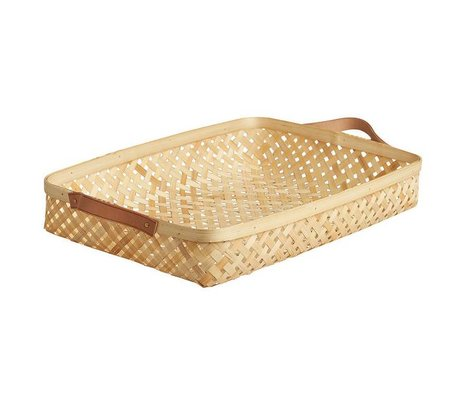 OYOY Kids Basket sporta large natural brown bamboo 28x42x6cm