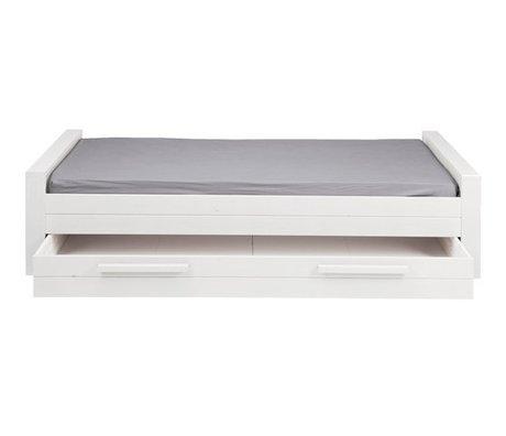 LEF collections Bedlade 'Robin' 1-persoons wit geborsteld grenen 219x95x53cm
