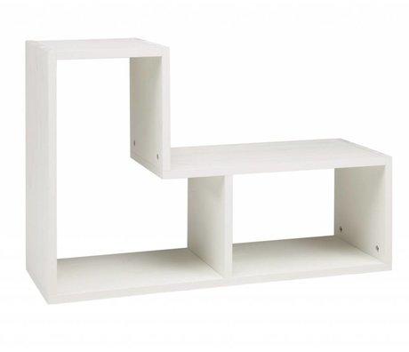 LEF collections Kinderstapelkast 'Tetris' geborsteld grenen wit stapelkast 80x27x54cm