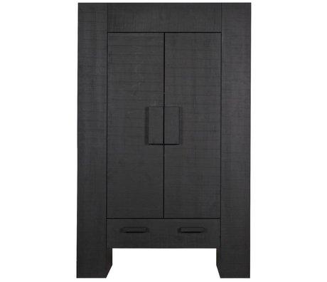 LEF collections Kinderkast Hidde zwart grenen grof gezaagd 116x45x185cm