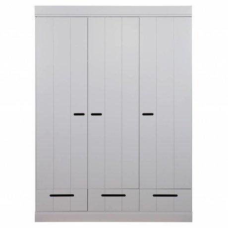 LEF collections Kinderkledingkast Connect 3 deurs strokendeur met lades beton grijs grenen 195X140X53cm