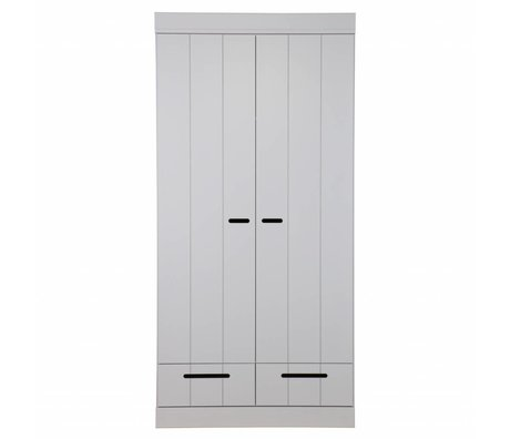 LEF collections Kinderkledingkast Connect 2 deurs strokendeur met lades beton grijs grenen 195X94X53cm