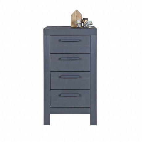 LEF collections Kids Dresser Dennis steel gray pine 85x45x39cm