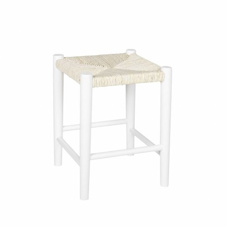 LEF collections Children Stool Riva square white wood 39,8x30cm