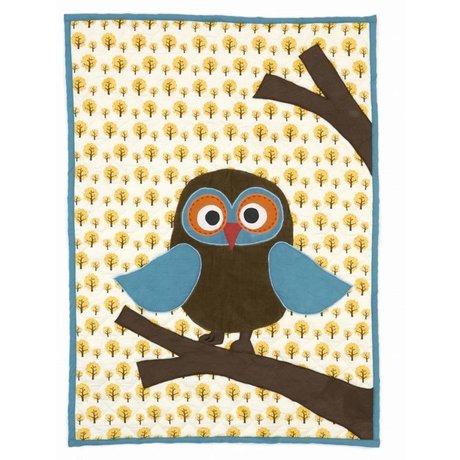 Ferm Living kids Owl yellow quilt 100x70cm