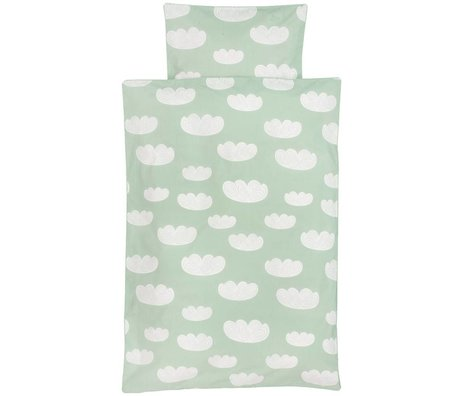 Ferm Living kids Children's Well-Cloud mint green cotton 70x100cm 46x40cm
