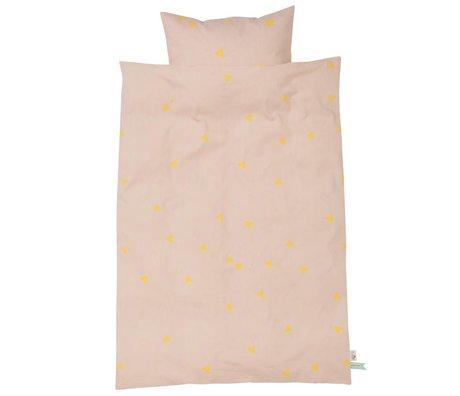 Ferm Living kids Kinderbeddengoed Teepee roze geel katoen 70x100cm-46x40cm