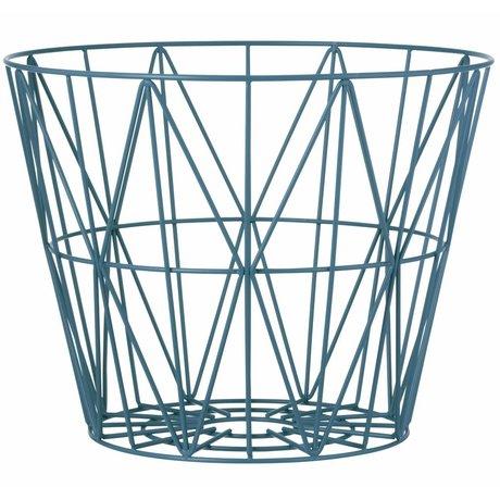 Ferm Living kids Kindermand petrol blauw ijzer 3 maten 40x35cm,50x40cm,60x45cm Wire basket