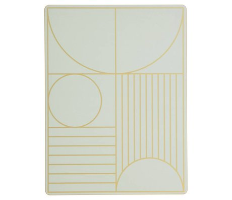 Ferm Living Kinderplacemat Outline mint groen hout kurk 40x30cm