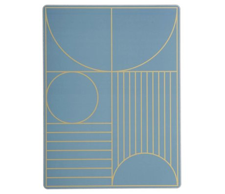 Ferm Living Kinderplacemat Outline dusty blauw hout kurk 40x30cm