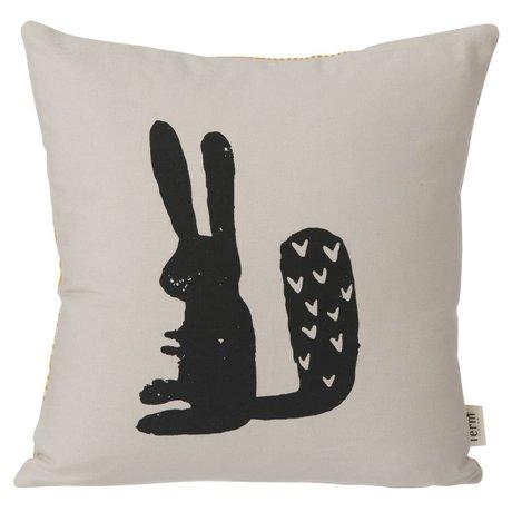 Ferm Living Kinderkussen Rabbit grijs 30x30cm