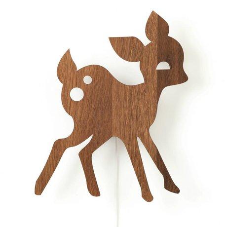 Ferm Living kids Kinderwandlamp hert bruin hout 29x38,5cm, My Deer
