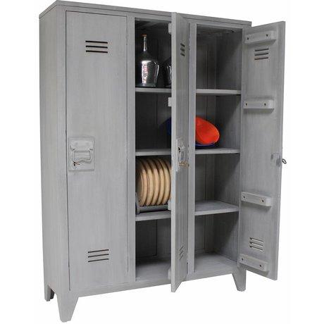 HK-living Kinderkast grijs hout 103x35x155cm, Locker hout
