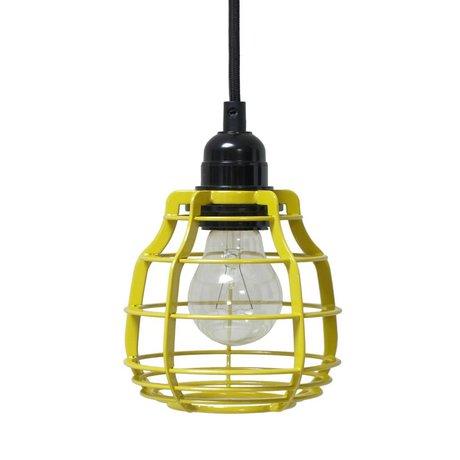 HK-living Kinderhanglamp LAB chartreuse geel met pendel metaal 13x13x17cm