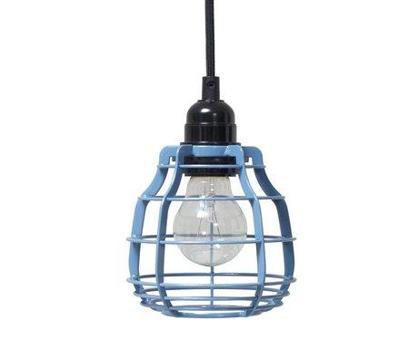 HK-living Kinderhanglamp LAB industrial blue blauw met pendel metaal 13x13x17cm