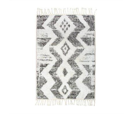 HK-living Kindervloerkleed Zigzag wit grijs katoen 75x110cm