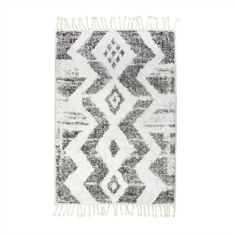 HK-living Kids Rug Zigzag white gray cotton 75x110cm