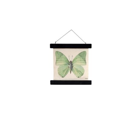 HK-living School Poster Butterfly printed cotton wood 23x23x2,5cm