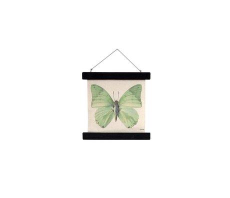 HK-living Schoolplaat Vlinder geprint katoen hout 23x23x2,5cm