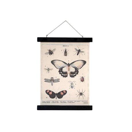 HK-living Schoolplaat Insecten geprint katoen hout 30x40x2,5cm