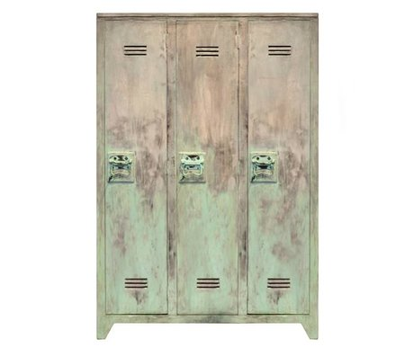 HK-living Kinderkast locker hout turquoise geschuurd 35x103x155cm