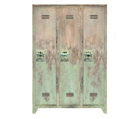 HK-living Kinderkast locker turquoise wood sanded 35x103x155cm