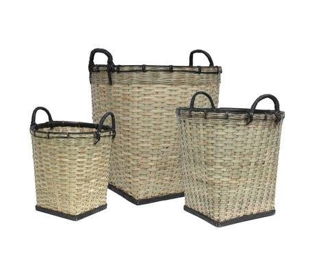 HK-living Kindermanden set van drie bamboe licht groen zwart 47x52/38x45/31x47cm