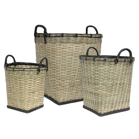 HK-living Kids Baskets set of three black bamboo light green 47x52 / 38x45 / 31x47cm