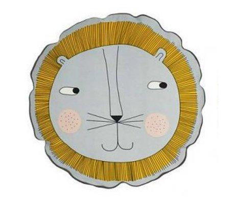 OYOY Kinderkussen Leeuw geel grijs katoen 50cm