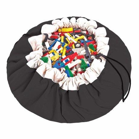 Play & Go Opbergzak/speelkleed Classic Black zwart katoen ø140cm