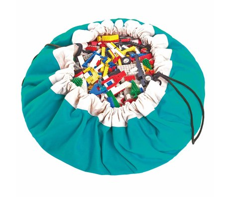 Play & Go Opbergzak/speelkleed Classic Turqouise blauw katoen ø140cm