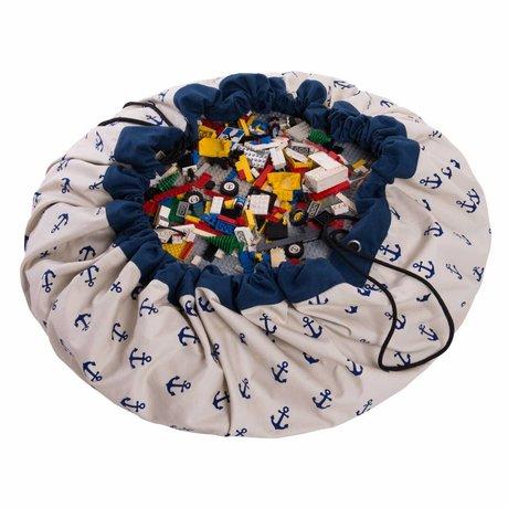 Play & Go Opbergzak/speelkleed Anchor Blue blauw katoen ø140cm