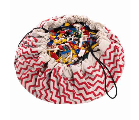 Play & Go Storage bag / playmat Zig Zag Red and white cotton ø140cm