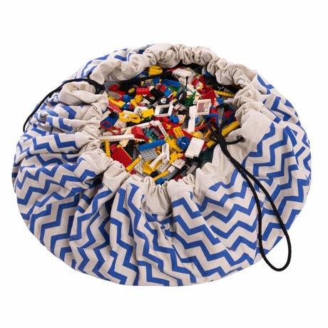 Play & Go Opbergzak/speelkleed Zig Zag Blue blauw katoen ø140cm