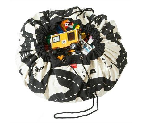 Play & Go Opbergzak/speelkleed Roadmap zwart wit katoen ø140cm