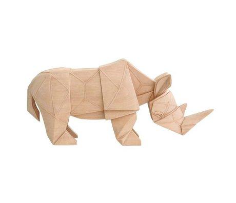 HK-living Rhino geo natural brown wood black 34x9,5x15cm