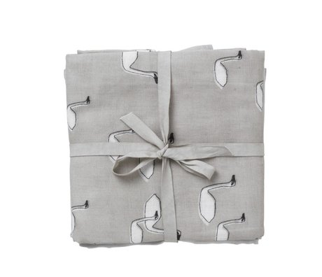 Ferm Living kids Hydrofiele doek Muslin Diapers swan grijs multicolour organisch katoen set van 3 70x70cm