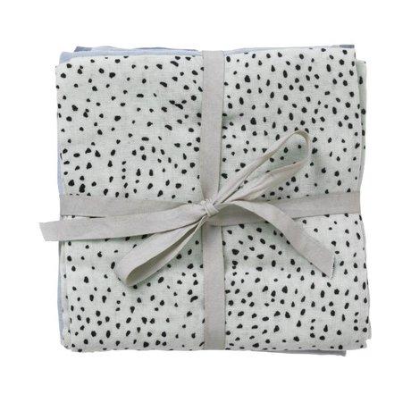 Ferm Living Hydrofiele doek Muslin Diapers dot mintgroen multicolour organisch katoen set van 3 70x70cm