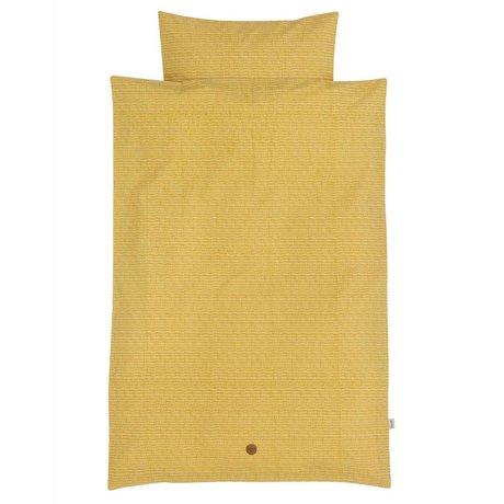 Ferm Living Kinderbeddengoed Stick geel katoen 100x140cm-46x40cm