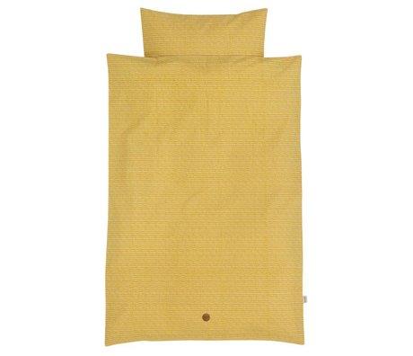Ferm Living Kinderbeddengoed Stick geel katoen 140x200cm-63x60cm