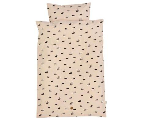 Ferm Living Kinderbeddengoed Rabbit roze katoen 100x140cm-46x40cm