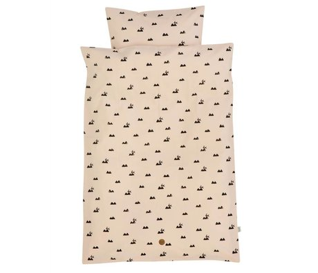 Ferm Living kids Children's Well-Rabbit pink cotton 140x200cm 63x60cm