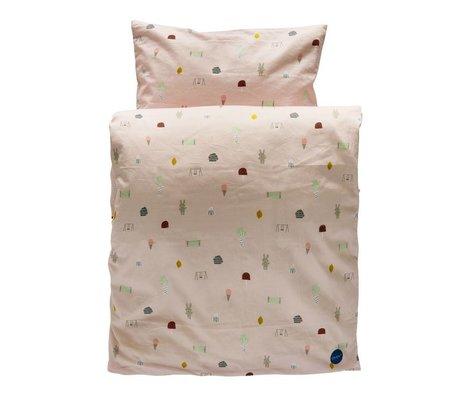 OYOY Kinderbeddengoed Happy summer lichtroze organisch katoen 70x100cm-40x45cm