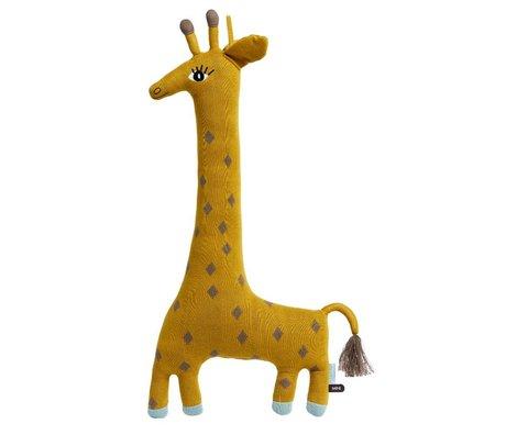 OYOY Knuffel Noah de giraffe geel katoen 64x15x27cm