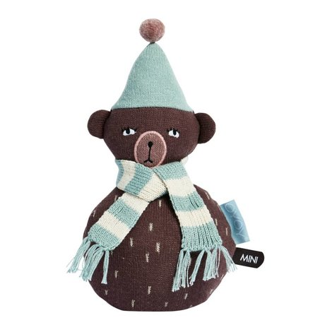 OYOY Roly-poly teddy bruin blauw katoen 12x22cm