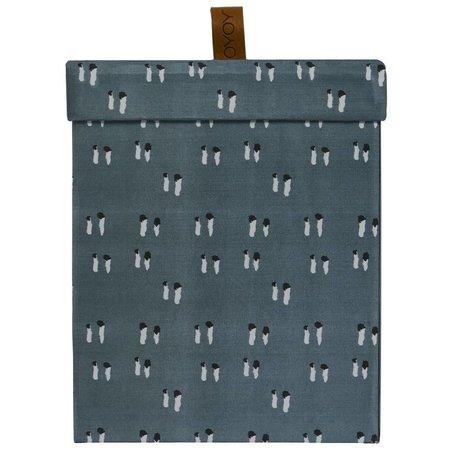 OYOY Opbergdoos Square blauw katoen leer S 16,5x20,5x16,5cm
