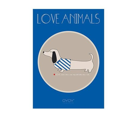 OYOY Poster Slinkii dog blauw papier 50x70cm