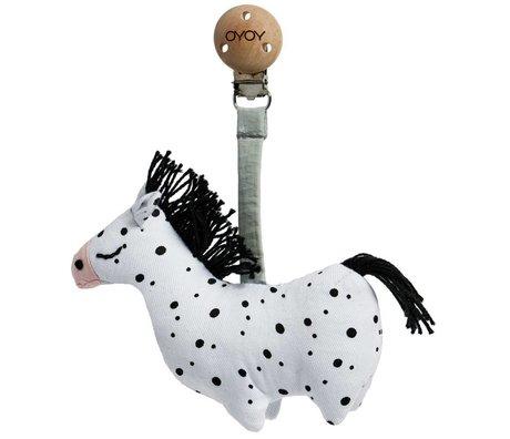OYOY Knuffel met clip Horse baby zwart-wit organisch katoen 3x11x11,5cm